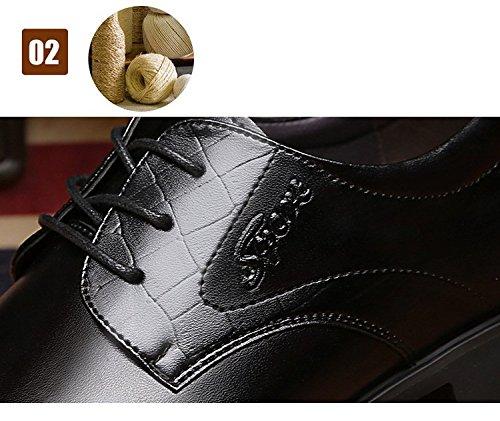Män Pekade Tå Affärs Klänning Formella Skor Platta Oxfords Loafers Snörning Svart