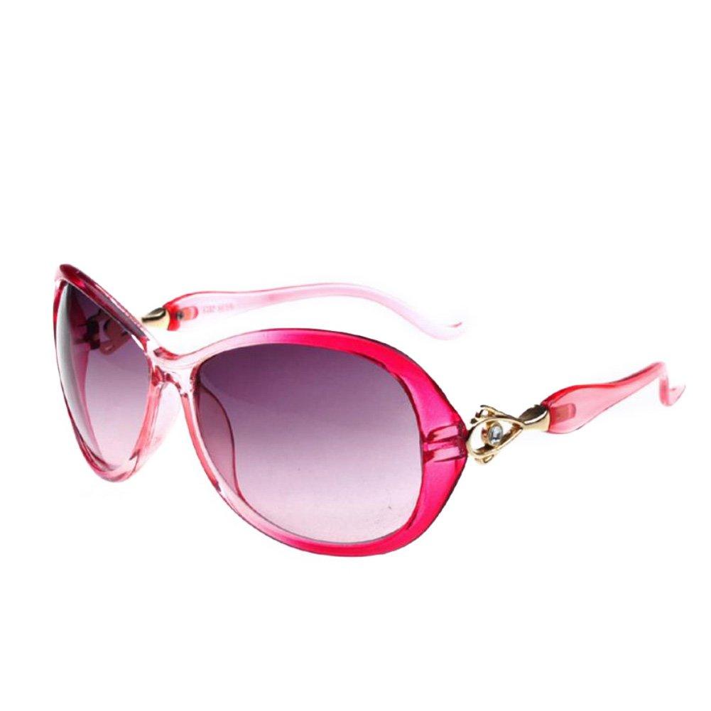 Qingsun Moda Fashion Montura Decorada Gafas de Sol Sunglasses Forma de Oversized Protección de Ojos Retro Vintage para Chica Mujer Rosa