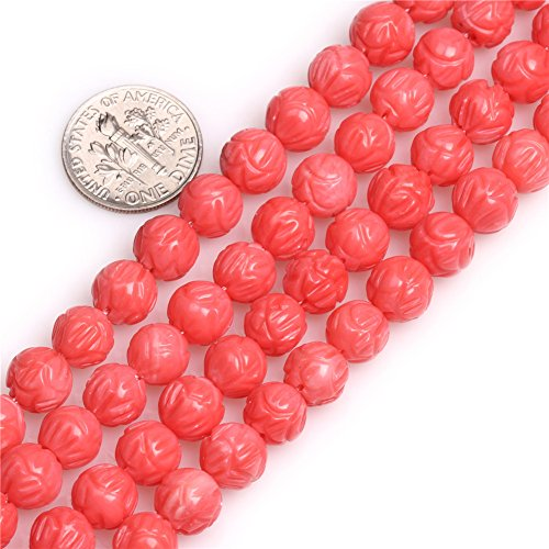 Natural Flower Pink Coral (GEM-inside Coral Gemstone Loose Beads Carved Lotus Flower Pink Natural 8mm Crystal Energy Stone Power for Jewelry Making 15