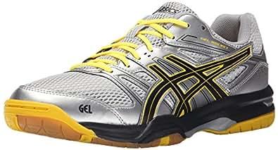Asics Men's Gel-Rocket 7 Indoor Court Shoe, Silver/Onyx/Neon Yellow, 7 M US