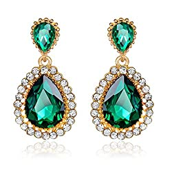 Rhinestone Studded Artificial Crystal Teardrop Earring