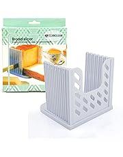 Yinoinge Plastic Bread Slicer for Homemade Bagel Loaf/Toast, Foldable Bread Cutter Guide,Adjustable Sandwich Slicing Machine (White)