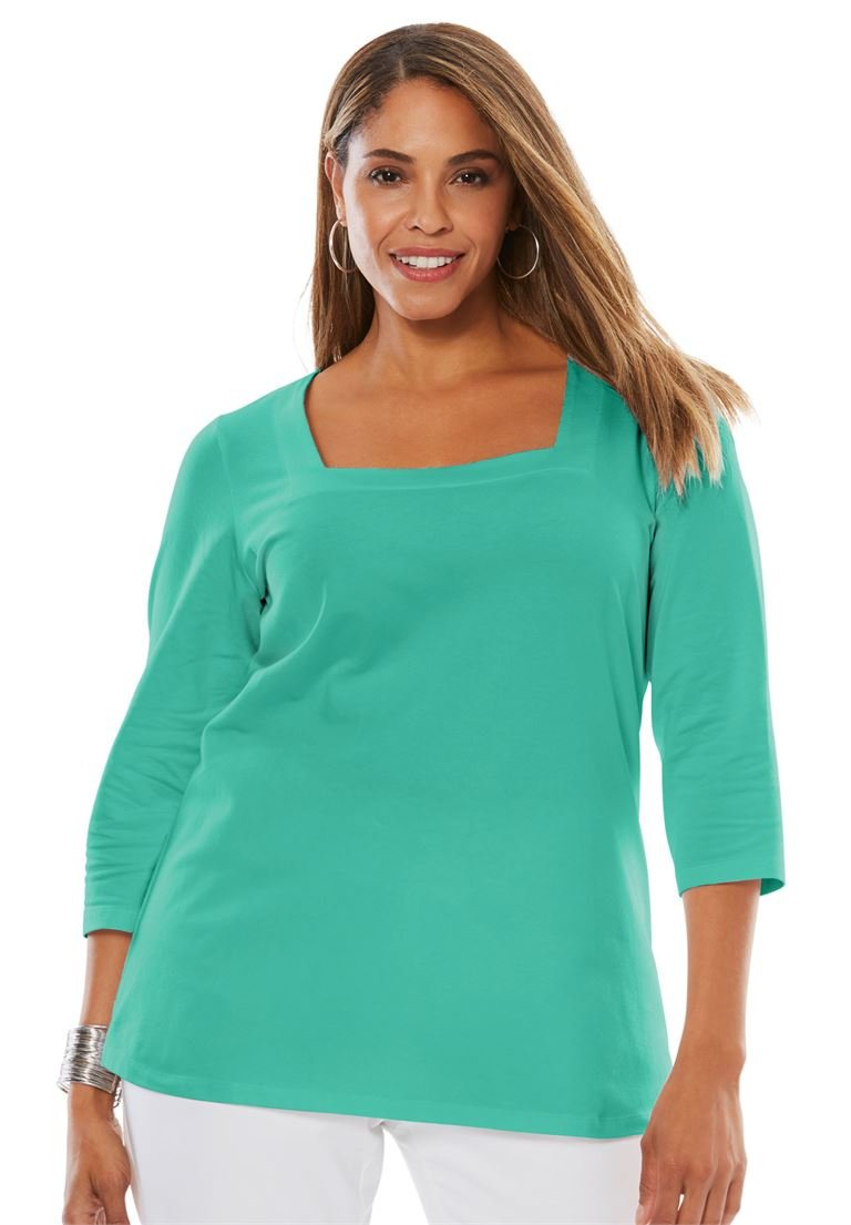 Jessica London Women's Plus Size Square Neck Tee Pretty Jade,12