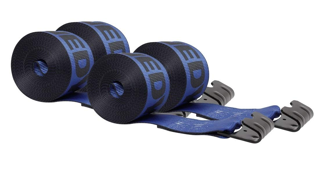 Mytee Products Kinedyne Winch Straps 4'' x 30'' Blue Heavy Duty Tie Down w/Flat Hooks WLL# 5400 lbs | 4 Inch Cargo Control for Flatbed Truck Utility Trailer (4 Pack) by Mytee Products