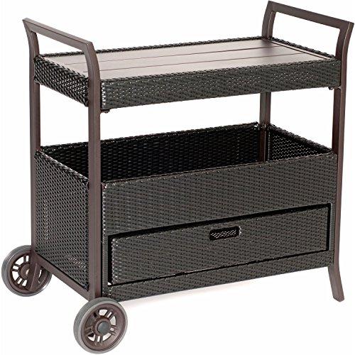 Hanover HAN-BARCART Outdoor Bar Cart (Portable Bar Cart Outdoor Patio Furniture)