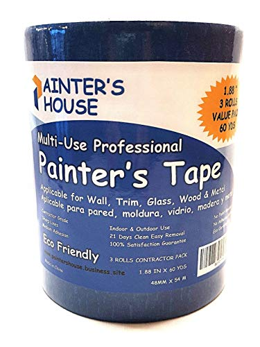 "Painter's Tape,Blue Painters Tape 2 inch,3 Pack(1.88""x 60 Yards)180 Yards Total-Medium Adhesive-No Residue Behind-Professional Masking Tape-Blue Scotch by Painter's House"