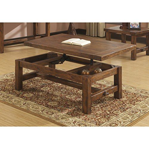Emerald Home Chambers Creek Brown Coffee Table with Lift Top Storage, Plank Style Top, And Straight Timber -
