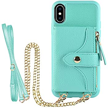 LAMEEKU Wallet Case for iPhone Xs and iPhone X 5.8'', Credit Card Holder Leather Wallet Case with Crossbody Strap & Wrist Strap Zipper Leather Case Compatible with iPhone Xs/iPhoneX - Green