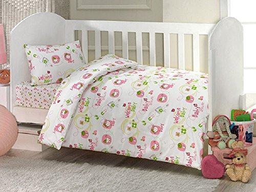 Brielle Toddler Duvet/Quilt Cover Set Bedding Set 100% Ranforce Cotton Turkish Cotton Comforter Cover Toddler Baby Bedding Sheet Set 3 Pieces 453V1 (white pink welcome baby)