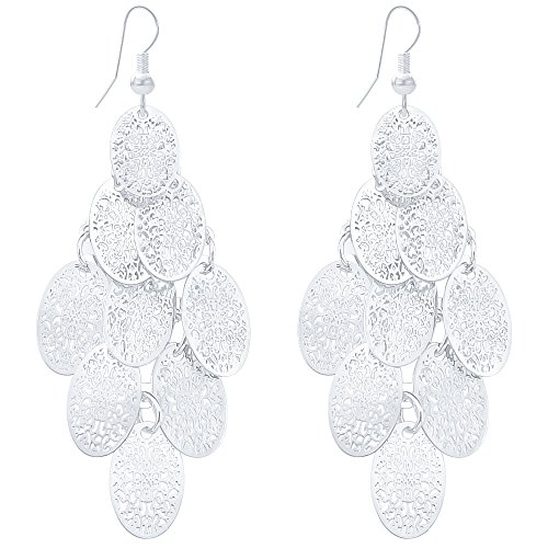 (Women Lightweight Filigree Silver Earrings Long Chandelier Drop Dangle Alloy Cutout Layer Oval Earrings)