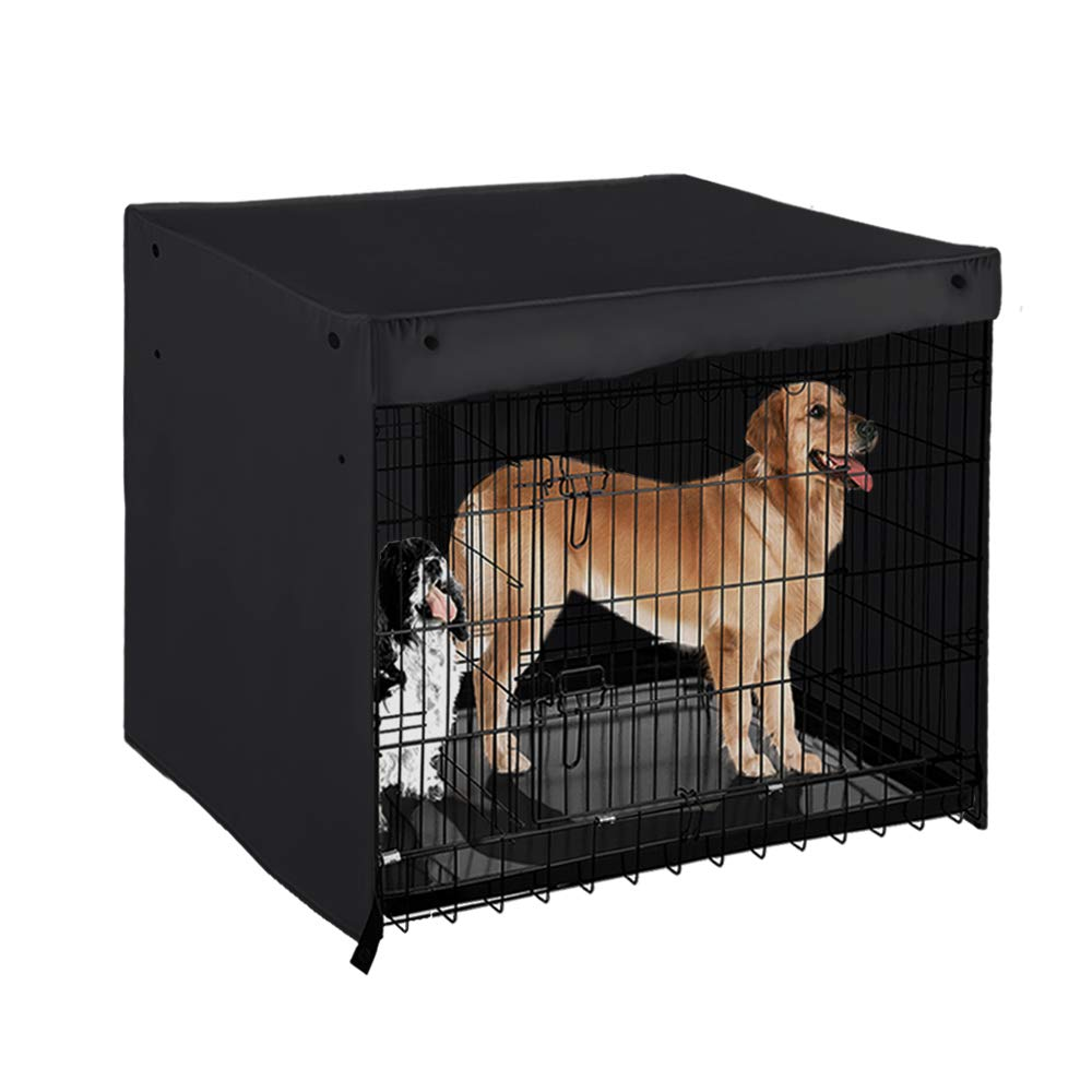PONY DANCE Dog Kennel Cover 100% Polyester Pet Cage Covers Blackout Shades Breathable for Animal Universal Fit Metal Crate Sizes/Light Block & Privacy Protect for Dogs/Cats/Birds by PONY DANCE