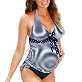 Vincent&July Maternity Women Pregnant Swimwear Suit Stripe Bikinis Swimsuit Beachwear (XXX-Large)