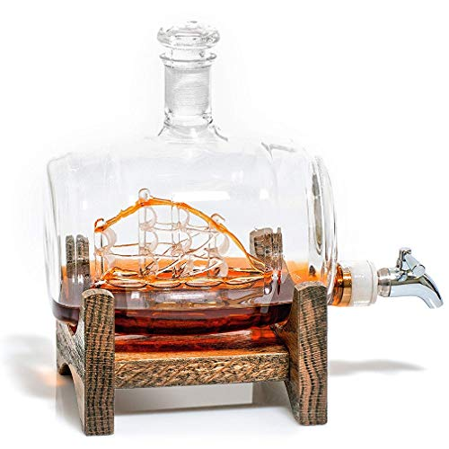 VATRIO-Decanters-Sailing-Ship-Stainless-Steel-Spigot-Liquor-Dispenser-for-Tequila-Bourbon-Scotch-Rum-Alcohol-Related-Gifts-for-Dad-500ML