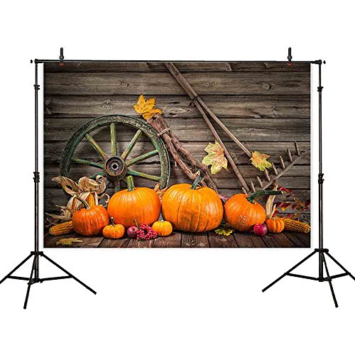 Funnytree 7x5ft Thin Vinyl Halloween Backdrop Pumpkins Barn Cart Wheel Farm Tool Autumn Fall Leaves Vintage Wood Plank Background for Studio Portrait Photography Party Decoration Photocall Photo Booth for $<!--$19.99-->