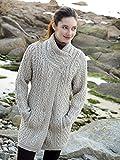 100% Merino Wool Aran Crafts 3 Button Long Cardigan, Parsnip Colour Large