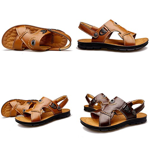 Gaorui Mens Leather Sandals Summer Outdoor Fisherman Breathable Sport Beach Sandals Brown YJAiifb38