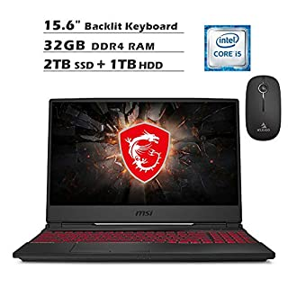 2020 Newest MSI GL65 15.6 Inch FHD 1080P Gaming Laptop (Intel 4-Core i5-9300H, GTX 1650 4GB, 32GB DDR4 RAM, 2TB SSD (Boot) + 1TB HDD, Backlit KB, Win 10) + NexiGo Wireless Mouse Bundle