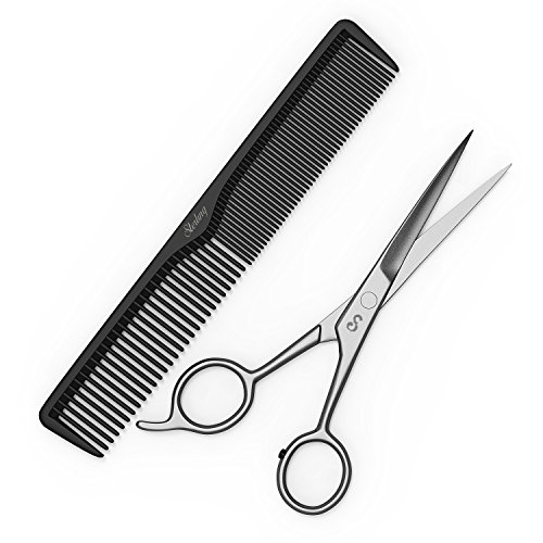 [Professional 6.5 Inch Hair Cutting Scissors - Japanese Stainless Steel with BONUS 7 Inch Carbon Styling Comb and Storage Bag by Sterling Beauty] (Hair Bows Finger)