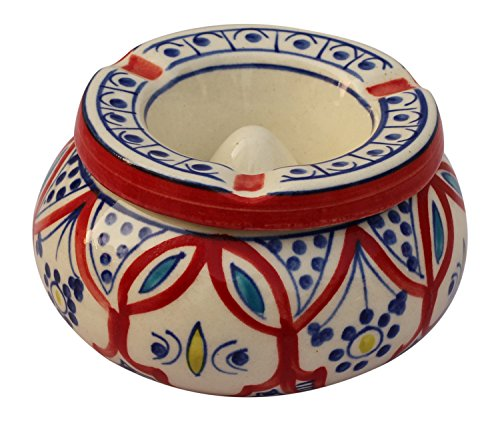 SouvNear Designer Moroccon Ashtray Handmade Hand Painted Ashtray for Outdoors Indoors Decorative Ceramic Moroccon Ashtray with 3 Holder Slots - Unique Presents for Men Women