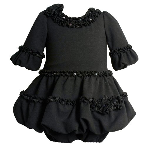 Bonnie Jean Baby 12M-24M Sequin Ruffle Charmeuse Bell Sleeve Bubble Dress