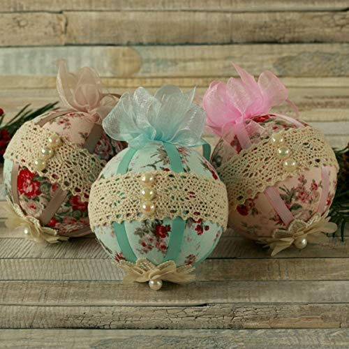shabby chic christmas gifts hanging tree decorations fabric bauble set xmas ball ornaments - Handmade Shabby Chic Christmas Decorations