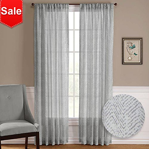 NICETOWN Sheer Curtain Panels Voile Draperies - (2 Pieces) Morden Design Zig Zag Chevron Pattern Sheer Window Curtains/Drapes (Pole Top,50 Width x 63 Length,Grey-Taupe) - Pole Top Curtain Panel