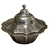 Ottoman Style Engraved Copper Sugar Turkish Delight Candy Bowl (Antique Silver) by The Turkish Emporium Ltd