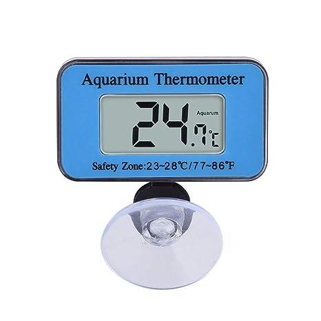 Yililay Sucker LCD del Acuario Termómetro Digital Termómetro mar Vivarium Rango de Temperatura a Prueba de