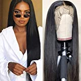 IUEENLY Brazilian Straight Lace Front Wigs Human Hair 13x4 Lace Front Wig For Black Women Pre Plucked with Baby Hair Natural Black 150% Density (22inch)