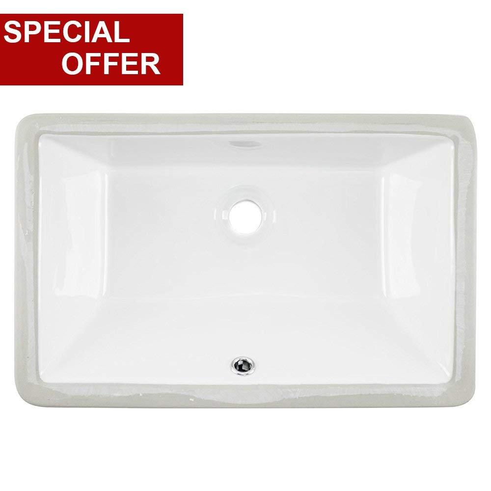 20.87''x13.58''x7.09'' Contemporary Under Counter Basin Lavatory Vanity Sink Rectangular Procelain Undermount Ceramic Bathroom Sink, Bathroom Sinks White With Overflow