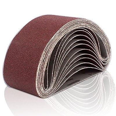 Coceca 12PCS Sanding Belts 3-Inch x 21-Inch 80 Grit Aluminum Oxide Sanding Belts For Belt sander