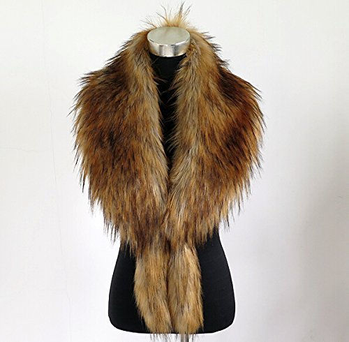 (Update Everyday Large luxury Faux Raccoon Fur Faux Fox Fur Collar Scarf shawl clothing collar fur muffler all-match decoration to winter down coats(brown))