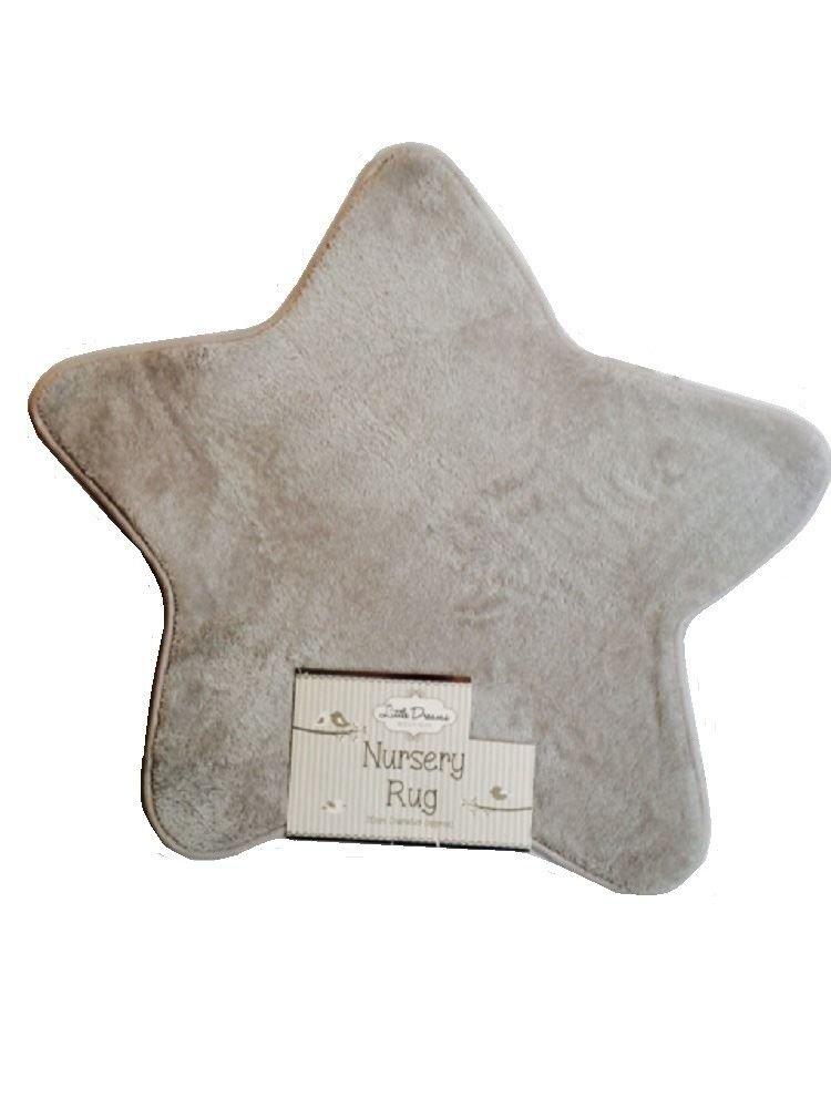 New Little Dreams Baby Supersoft Fluffy Star Shaped Nursery Rug Carpet Grey 70cm