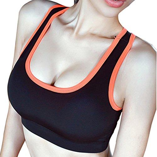Ailin home- Señoras de secado rápido Running Vest Profesional a prueba de golpes ropa deportiva No Acero Yoga Fitness Bra Negro