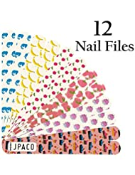 JPACO 12 PCS Professional Cute Nail Files 120 240 Grit