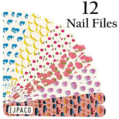 (JPACO 12 PCS Professional Cute Nail Files 120 240 Grit)