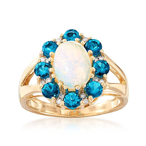 (Ross-Simons 1.00 ct. t.w. Apatite and Opal Ring With Diamond Accents in 14kt Yellow Gold)
