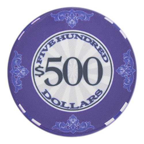 Brybelly Scroll Poker Chip Lightweight 10-gram Casino Grade Ceramic – Pack of 50 ($500 -