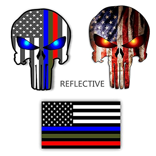 Vinyl Usa - Bundle Reflective Thin Blue line Stickers - Thin Blue Line US Flag, Punisher Skull, Dark Night Decals Stickers, American USA Flag Vinyl Stickers Honoring Police Law Enforcement(3 pack)
