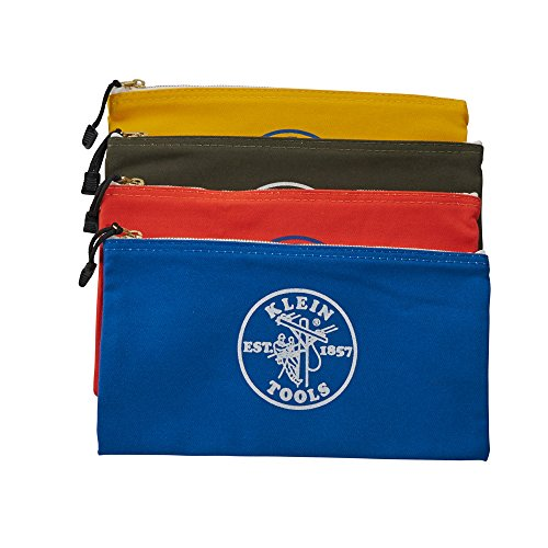 092644553677 - Klein Tools 5140 Canvas Zipper Bags, Olive, Orange, Blue, Yellow (4-Pack) carousel main 4