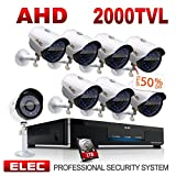ELEC 8CH 1080N Security Camera System DVR Recorder 8 Pack HD 2000 TVL Outdoor CCTV Cameras with IP66 Weatherproof and Motion Detection with 1TB Surveillance Hard Disk Review