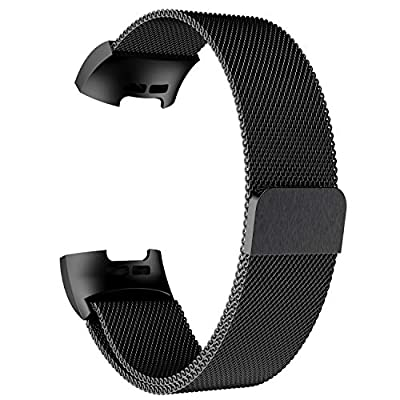 POY Metal Replacement Bands Compatible for Fitbit Charge 3 and Charge 3 SE Fitness Activity Tracker, Milanese Loop Stainless Steel Bracelet Strap with Unique Magnet Lock for Women Men (Black, Small)