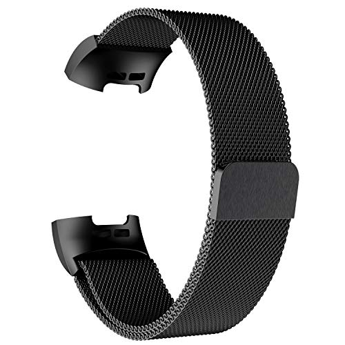 POY Metal Replacement Bands Compatible for Fitbit Charge 3 and Charge 3 SE Fitness Activity Tracker, Milanese Loop Stainless Steel Bracelet Strap with Unique Magnet Lock for Women Men, Large Black