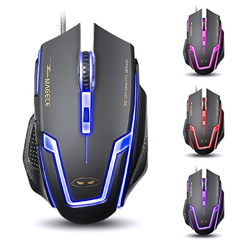 Yanni G1 Wired USB PC Computer Gaming Mouse Mice, Optical, 6 Buttons, 3200 DPI, Multi-colorful Leds For PC Mac Lumix(Black)