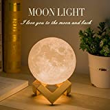Mydethun Moon Lamp Moon Light Night Light for Kids Gift for Women USB Charging and Touch Control Brightness Two Tone Warm and Cool White Lunar Lamp (4.7IN) Reviews