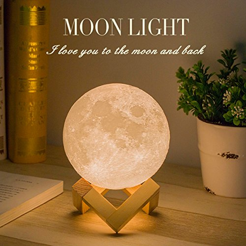 Mydethun Moon Lamp Moon Light Night Light for Kids Gift for Women USB Charging and Touch Control Brightness 3d Printed Warm and Cool White Lunar Lamp (4.7IN)