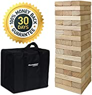 EasyGoProducts 54 Piece Large Wood Block Stack & Tumble Tower Toppling Blocks Game– Great for Game Nights