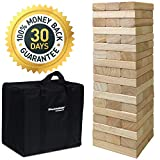 EasyGoProducts 54Piece Giant Wood Block Stack & Tumble Tower Toppling Blocks Game- Great for Game Nights for Kids, Adults & Family-Storage Bag
