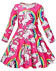 AmzBarley Little Girls Dresses Unicorn Rainbow Children Kids Birthday Party Halloween Cosplay Holiday Outfits 3-7 Years