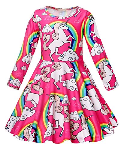 Cotrio Unicorn Girls Long Sleeve Casual Dress Kids Theme Birthday Party Dresses Toddler Clothes Children Halloween Costumes Outfit Size 6 (5-6 Years, Hot Pink, 120)]()